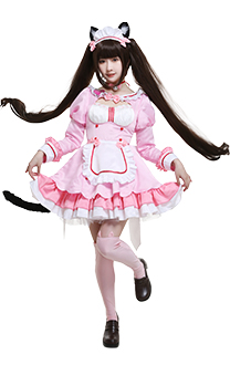 Nekopara Vol. 4 Chocola Catgirl Cosplay Costume Chest Open Maid Dress Ruffled Round Collar Long Sleeve Full Set with Ears Hair Clips Choker Tail