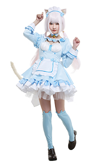 Nekopara Vol. 4 Vanilla Catgirl Cosplay Costume Chest Open Maid Dress Ruffled Round Collar Long Sleeve Full Set with Ears Hairband Choker Tail