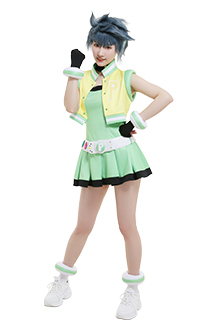 Girls Z PPGZ Powered Buttercup Kaoru Matsubara Cosplay Costume Sleeveless Vest Coat Short Pleated Dress Transformation Outfit with Gloves Choker Headdress Belt Accessories