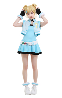 Girls Z PPGZ Rolling Bubbles Miyako Gotokuji Cosplay Costume Sleeveless Vest Coat Short Pleated Dress Transformation Outfit with Gloves Choker Headdress Belt Accessories