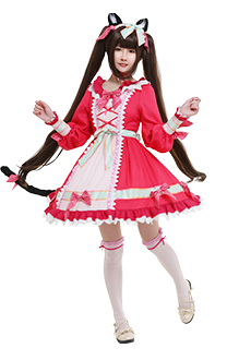 Nekopara Vol. 4 Chocola Catgirl Cosplay Costume Sweet Lolita Long Puff Sleeve Round Collar Ruffled A Line Dress Full Set with Hair Accessories Choker Tail Socks