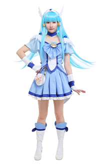 Smile Pretty Cure Glitter Force Costume de Cosplay Cure Beauty Aoki Reika Bleu