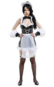 League of Legends LOL Costume de Cosplay Nidalee French Maid Version Robe de Maid avec Tablier et Coiffe