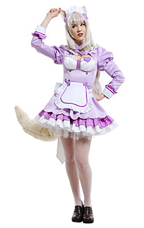 Nekopara Vol. 4 Costume de Cosplay Coconut Catgirl Maid Version Robe de Domestique Violette avec Oreilles et Queue