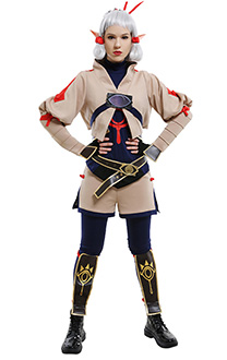 Hyrule Warriors: Age of Calamity Impa Traditional Folk Bronzing Bodysuit and Fake-Two Pattern Pants Set Cosplay Costume Outfits with Hair Accessories and Leg Armors