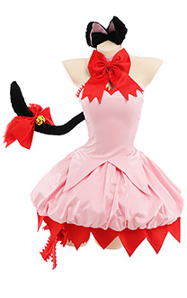 Tokyo Mew Mew Ichigo Momomiya Mew Ichigo Tube Top Dress Cosplay Costume Outfit with Choker Arm Guards Gloves Cat Ears Tail