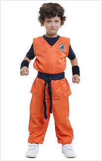 Dragon Ball Son Goku Kids Cosplay Costume Including T-shirt and Boot Covers