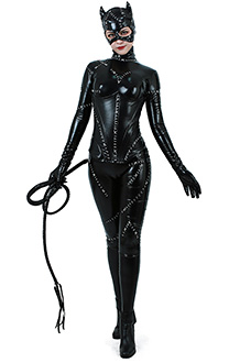 Super Heroine Cat Woman Jumpsuit Costume with Corset