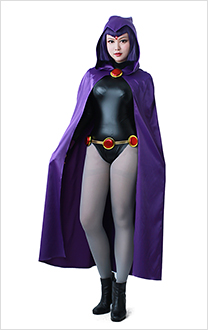 Super Heroine Halloween Bodysuit Cosplay Costume Cloak Inspired by Raven Make to Order
