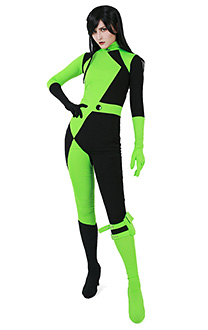 Kim Possible Shego Bodysuit Jumpsuit Super Villain Cosplay Costume