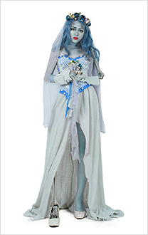 Corpse Bride Emily Cosplay Dress Costume Skeleton Halloween Costume