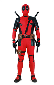Exclusive Marvel Deadpool Cosplay Costume Suit with Hoodie and Belts Set
