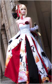 Fate/Stay Night Saber Cranes Long Dress Cosplay Costume