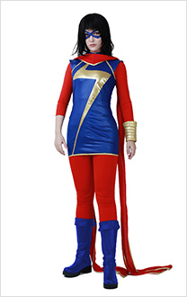 Ms. Marvel Kamala Khan Cosplay Costume with Scarf and Eye Mask