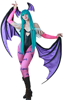 Darkstalkers Morrigan Aensland Cosplay Costume with Wings