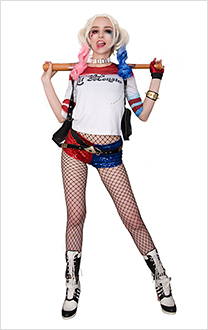 Suicide Squad Harley Quinn Cosplay Costume with Belt Set