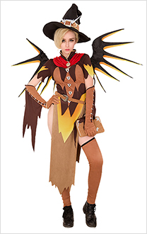 Overwatch Sorcière Costume Cosplay Mercy pour Halloween avec ailes