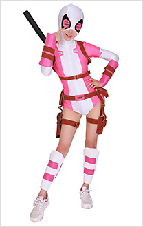 Superhero Cosplay Bodysuit Costume Spandex Lycra Suit with Belt Set Inspired by GwenPool Gwendolyn Gwen Poole Order to Made