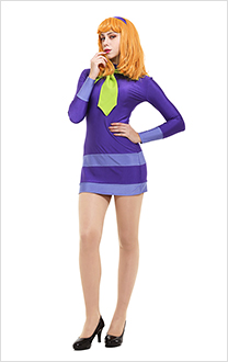 Scooby-Doo Daphne Blake Cosplay Costume Dress with Hairband