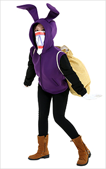 Nabbit Rabbit Cosplay Costume Bunny Ears Hoodie with Mask and Bag