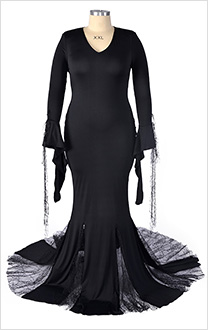 The Addams Family Costume de Cosplay Morticia Addams Taille Plus