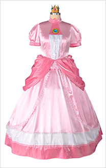 Princesse Peach Costume de Cosplay Robe Rose avec Couronne Taille Plus