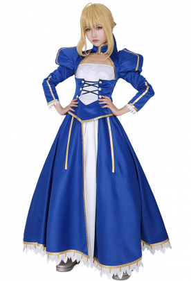 Fate Stay Night Blue Saber Cosplay Costume Dress