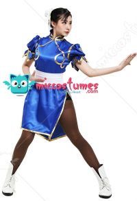Street Fighter Costume de Cosplay Chun Li Cheongsam Robe de Style Chinois