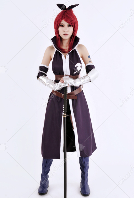 Fairy Tail Erza Scarlet Cosplay Costume Violet