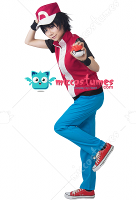 [Free US Economy Shipping] Game Trainer Red Cosplay Costume With Hat And Wristguards Included