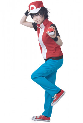 Game Pokemon Trainer Red Cosplay Costume With Hat And Wristguards Included