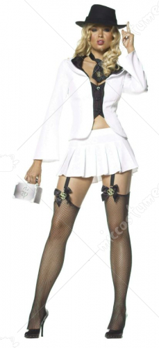 4Pc Gangster Sexy Costume
