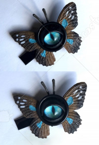 Halloween Women Lolita Gothic  Eyes Pattern Hairpin Head Accessory with Brown and Blue Butterfly Wings