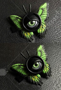 Halloween Women Lolita Gothic  Eyes Pattern Hairpin Head Accessory with Green Butterfly Wings