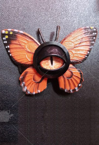 Halloween Women Lolita Gothic  Eyes Pattern Hairpin Head Accessory with Orange Butterfly Wings