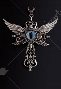 Halloween Women Lolita Gothic Eyes Pattern Necklace Neck Cosplay Accessory with Cross and Wings