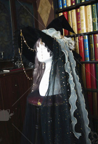Halloween Women Lolita Witch Astrology Hat Cosplay Outfit with Long Veil and Hanging Chain
