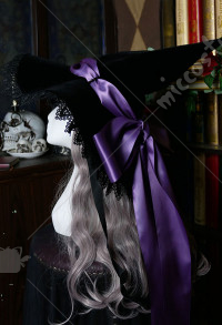 Halloween Women Lolita Fleece Holy Cross Witch Hat Cosplay Outfit with Long Veil and Ribbon