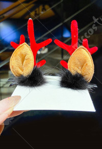 Girls Christmas Black Velvet Ball Acrylic Red Reindeer Antler Santa Xmas Hair Clips Cosplay Accessory for Christmas with Brown Ears