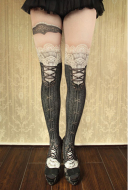 [Free Shipping] Victorian Style Black Pantyhose Lolita Printed Stockings Over-knee High Socks