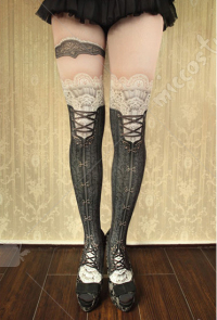 [Free US Economy Shipping] Victorian Style Black Pantyhose Lolita Printed Stockings Over-knee High Socks