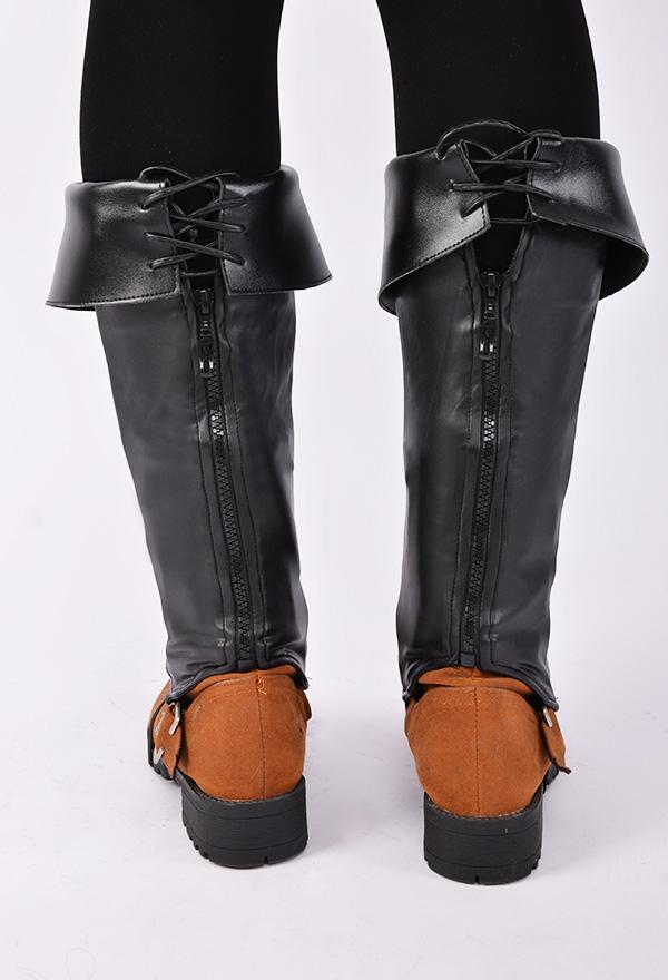 Herren Deluxe Erwachsene Piraten Stiefel Abdeckungen mit mit Nieten und Reißverschluss