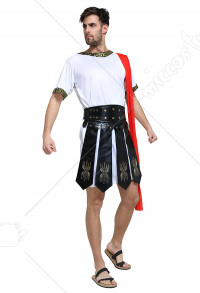 Men's Roman Soldier Apron and Belt PU Leather Gladiator Skirt