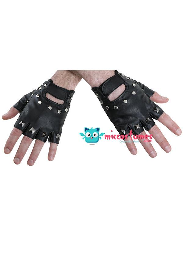 Fingerlose Leder Halbfinger Nietenhandschuhe Halloween Kostüm Lederhandschuhe für Erwachsene