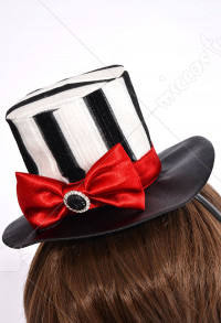 Black and White Striped Mini Top Hat for Halloween