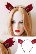 [Free US Economy Shipping] Halloween Cosplay Little Devil Headband Wine Red Headband Party Acting Cute Headband