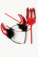 [Free US Economy Shipping] Halloween Cosplay Party Accessory Kid Adult Performance Prop Horn Devil Hair Accessory And Devil Fork