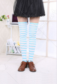 Woman Overknee Stockings Japanese Style Thigh High Colorful Strip Stockings Three Pairs A Set