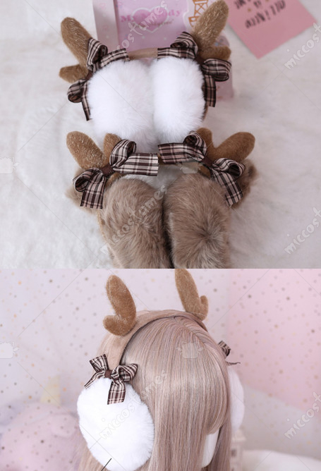 Christmas Cute Plaid Bowknot Earmuffs Japanese Style Plush Warm Ear Warmers with Deer Horns