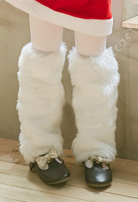Kids Christmas Party Supplies White Warm Plush Leg Warmers Christmas Costumes Accessory